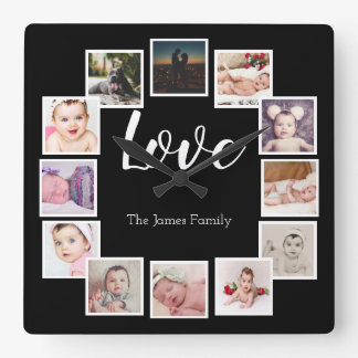 Design Your Own 12 Photo Collage Personalized Square Wall Clock