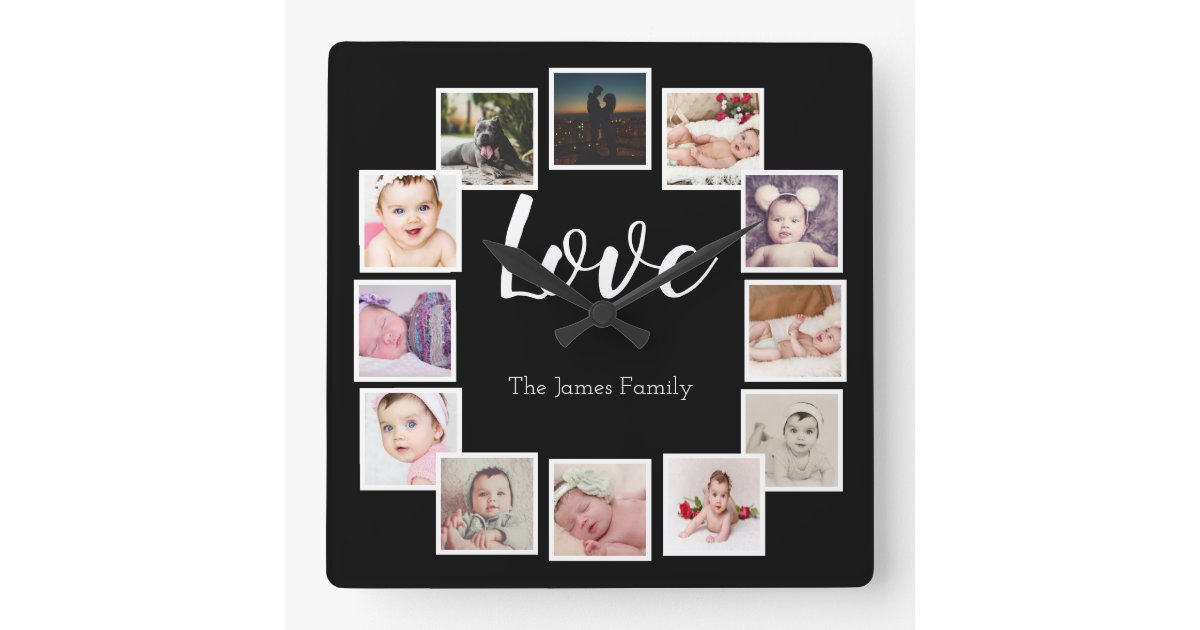 Design Your Own 12 Photo Collage Personalized Square Wall