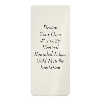 Design Your Own 4 x 9.25 Gold Metallic V20 4x9.25 Paper Invitation Card