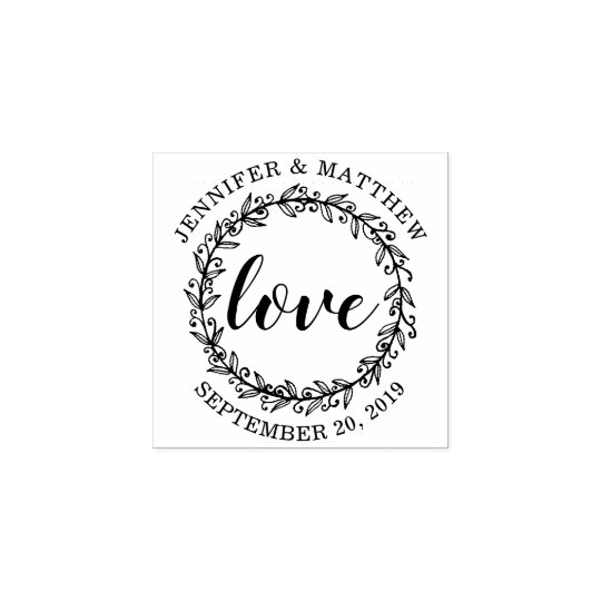 Design Your Own Rubber Stamp: Design Your Own Botanical Wreath Love Wedding Rubber Stamp