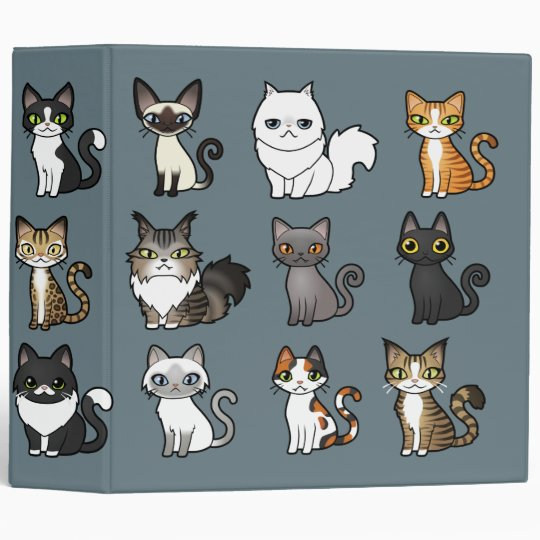 Design Your Own Cartoon Cat 3 Ring Binder