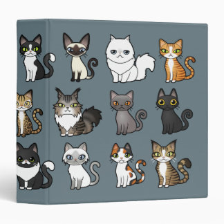 Design Your Own Cartoon Cat 3 Ring Binders