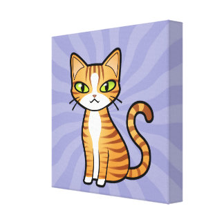 Design Your Own Cartoon Cat Stretched Canvas Print