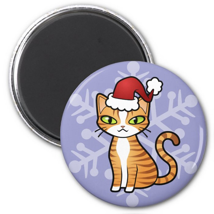 Design Your Own Cartoon Cat (Christmas) 2 Inch Round Magnet