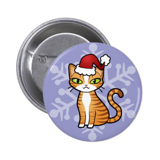 Design Your Own Cartoon Cat Christmas Buttons