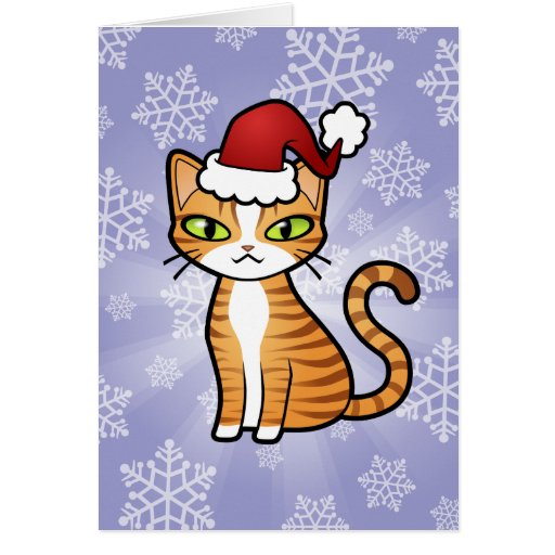 Design your own cartoon cat christmas greeting card zazzle