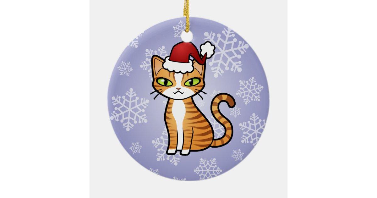 Design Your Own Cartoon Cat Christmas Ceramic Ornament