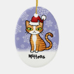 Design Your Own Cartoon Cat (Christmas) Ceramic Ornament