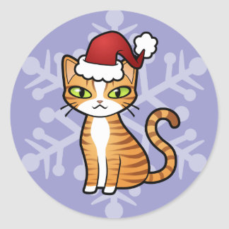 Design Your Own Cartoon Cat (Christmas) Classic Round Sticker