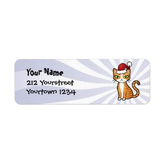 Design Your Own Cartoon Cat Christmas Custom Return Address Labels