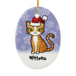 Design Your Own Cartoon Cat (Christmas) Double-Sided Oval Ceramic Christmas Ornament