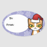 Design Your Own Cartoon Cat (Christmas) Oval Sticker