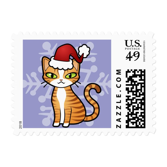 Design Your Own Cartoon Cat (Christmas) Postage Stamp