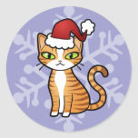 Design Your Own Cartoon Cat (Christmas) Round Sticker