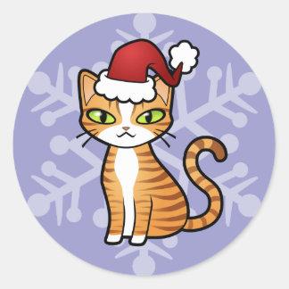 Design Your Own Cartoon Cat (Christmas) Round Sticker