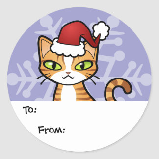 Design Your Own Cartoon Cat Christmas Stickers