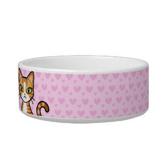 Design Your Own Cartoon Cat (customizable name) Cat Food Bowl