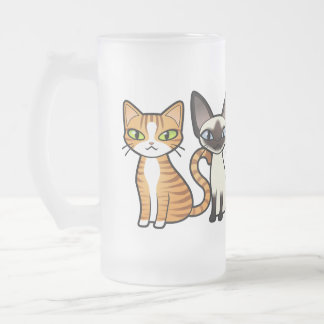 Design Your Own Cartoon Cat Frosted Glass Beer Mug