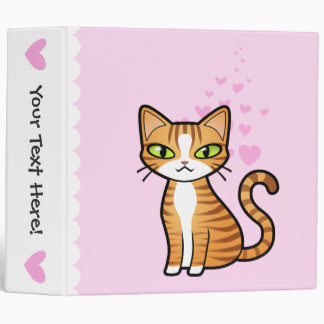 Design Your Own Cartoon Cat (love hearts) 3 Ring Binder