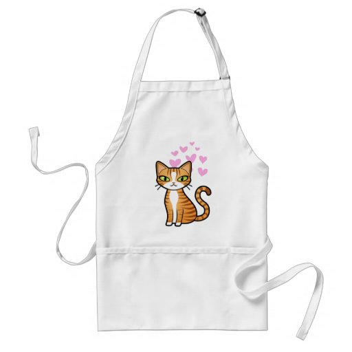 Design Your Own Cartoon Cat (love hearts) Adult Apron