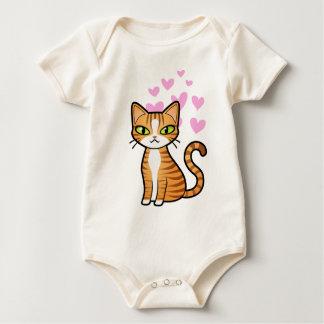 Design Your Own Cartoon Cat (love hearts) Baby Bodysuit