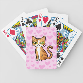 Design Your Own Cartoon Cat (love hearts) Bicycle Playing Cards