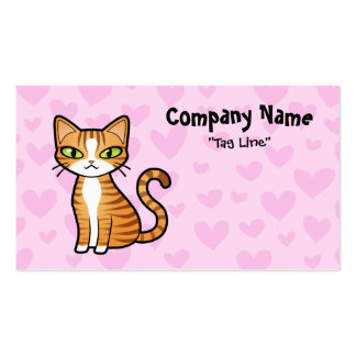Design Your Own Cartoon Cat (love hearts) Double-Sided Standard Business Cards (Pack Of 100)