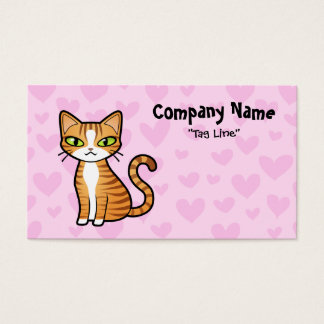 Design Your Own Cartoon Cat (love hearts) Business Card