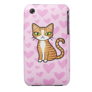 Design Your Own Cartoon Cat (love hearts) iPhone 3 Cases