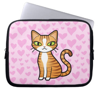 Design Your Own Cartoon Cat (love hearts) Computer Sleeve
