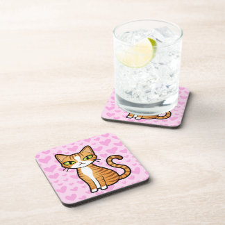 Design Your Own Cartoon Cat (love hearts) Beverage Coasters