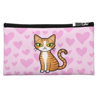Design Your Own Cartoon Cat (love hearts) Cosmetic Bag