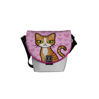 Design Your Own Cartoon Cat (love hearts) Courier Bag