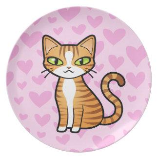 Design Your Own Cartoon Cat (love hearts) Dinner Plate