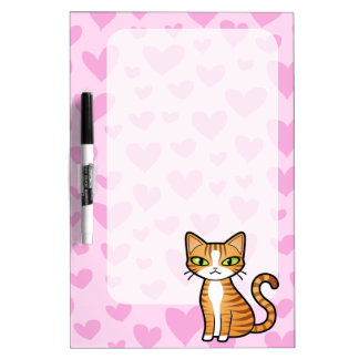 Design Your Own Cartoon Cat (love hearts) Dry Erase Whiteboards