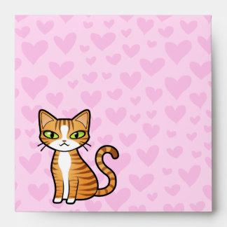 Design Your Own Cartoon Cat (love hearts) Envelope