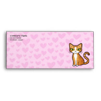 Design Your Own Cartoon Cat (love hearts) Envelope