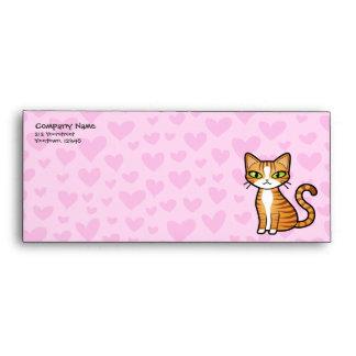 Design Your Own Cartoon Cat (love hearts) Envelopes