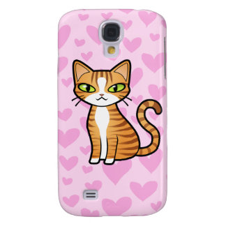 Design Your Own Cartoon Cat (love hearts) Galaxy S4 Cover