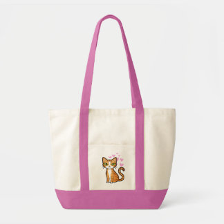 Design Your Own Cartoon Cat (love hearts) Impulse Tote Bag