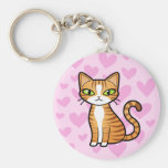 Design Your Own Cartoon Cat (love hearts) Keychains