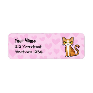 Design Your Own Cartoon Cat (love hearts) Label
