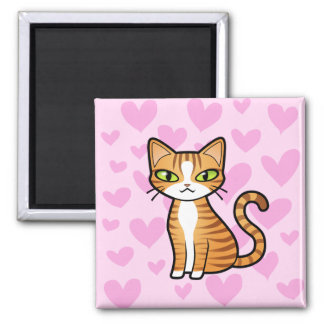 Design Your Own Cartoon Cat (love hearts) Magnet