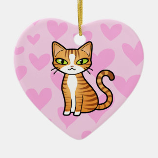 Design Your Own Cartoon Cat (love hearts) Christmas Ornaments