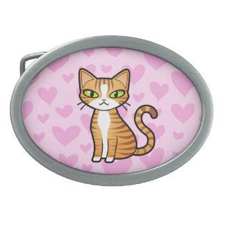 Design Your Own Cartoon Cat (love hearts) Oval Belt Buckle