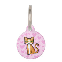 Design Your Own Cartoon Cat (love hearts) Pet ID Tag