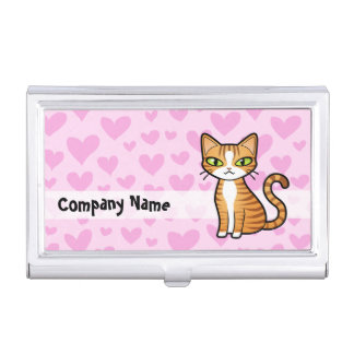 Design Your Own Cartoon Cat (love hearts) Business Card Case