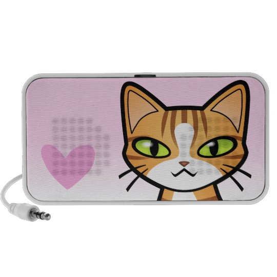 Design Your Own Cartoon Cat (love hearts) Portable Speaker