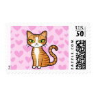 Design Your Own Cartoon Cat (love hearts) Postage