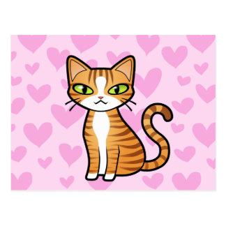 Design Your Own Cartoon Cat (love hearts) Postcard